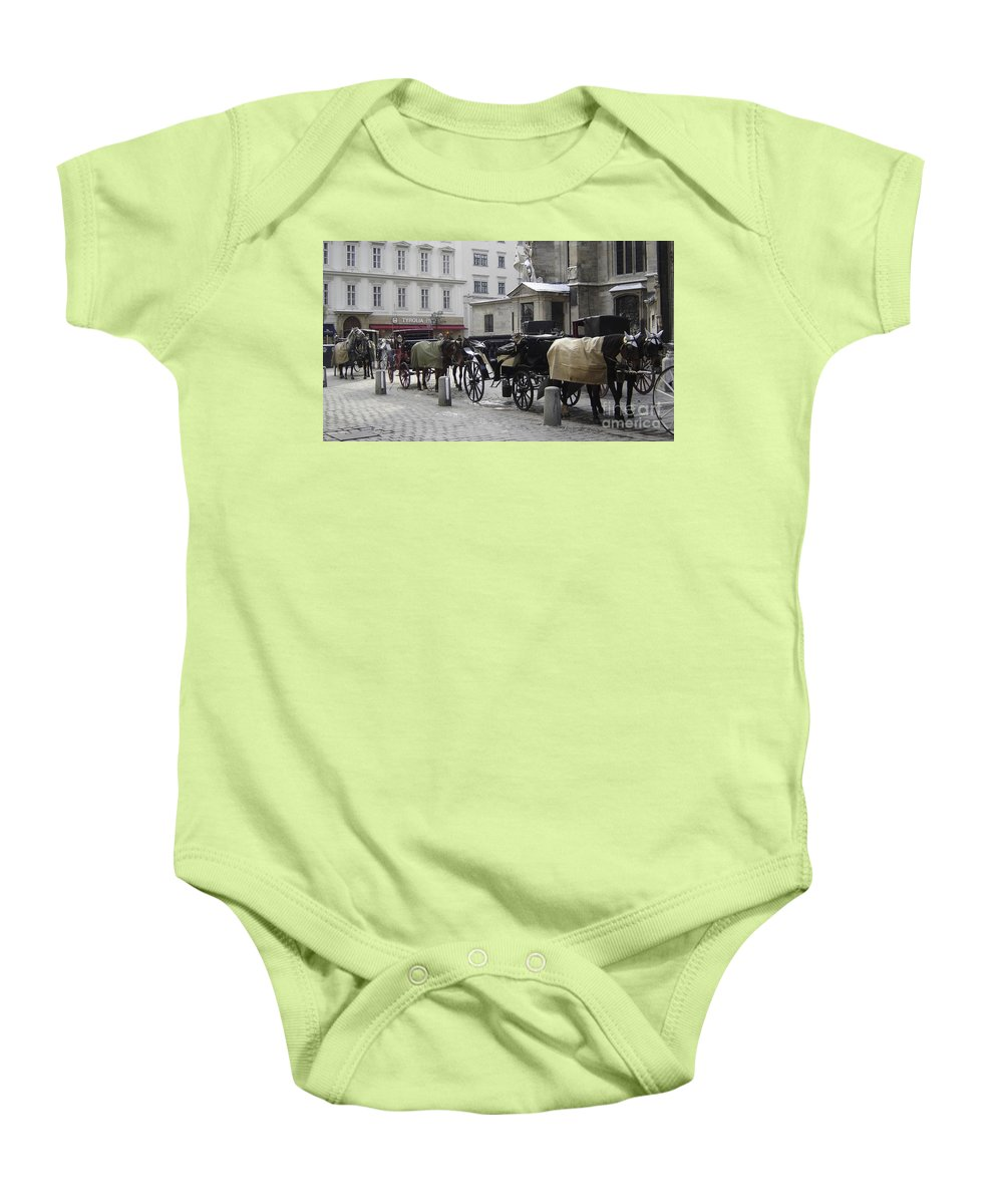 Horses Baby Onesie featuring the photograph On Call by Mary Rogers