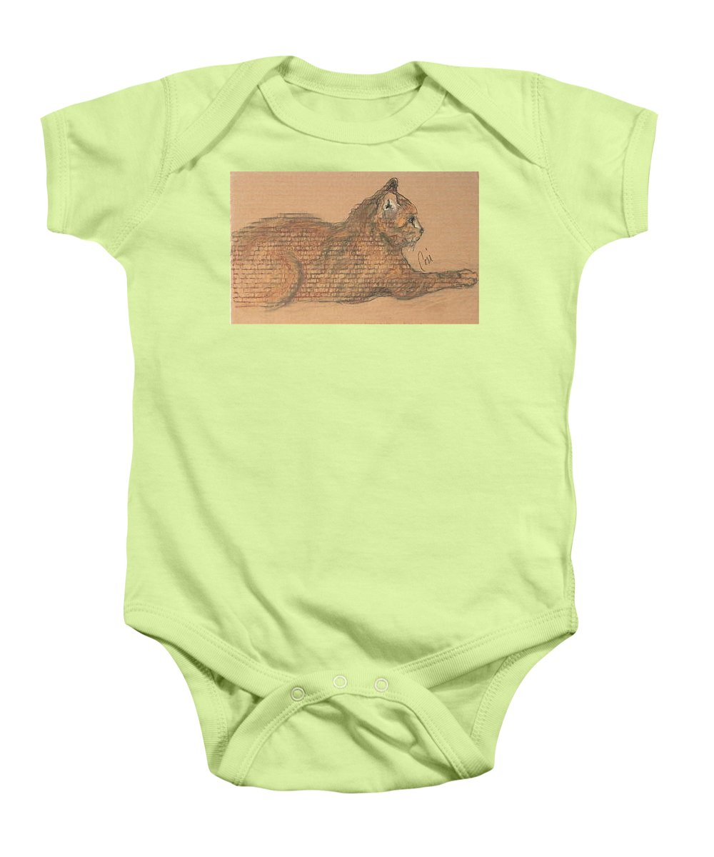 Cat Baby Onesie featuring the drawing On Point by Cori Solomon