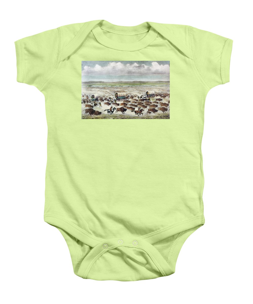 1866 Baby Onesie featuring the photograph Oregon Trail: Stampede by Granger
