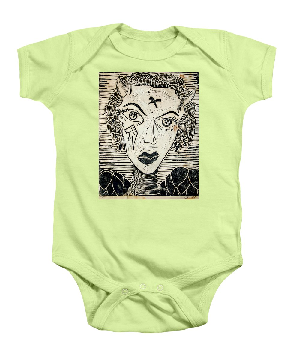 Block Print Baby Onesie featuring the print Original Devil Block Print by Thomas Valentine