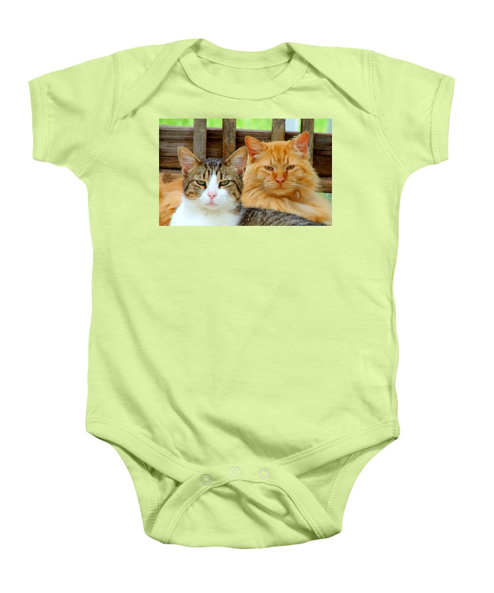 Cats Baby Onesie featuring the photograph Oscar And Red by J R Seymour