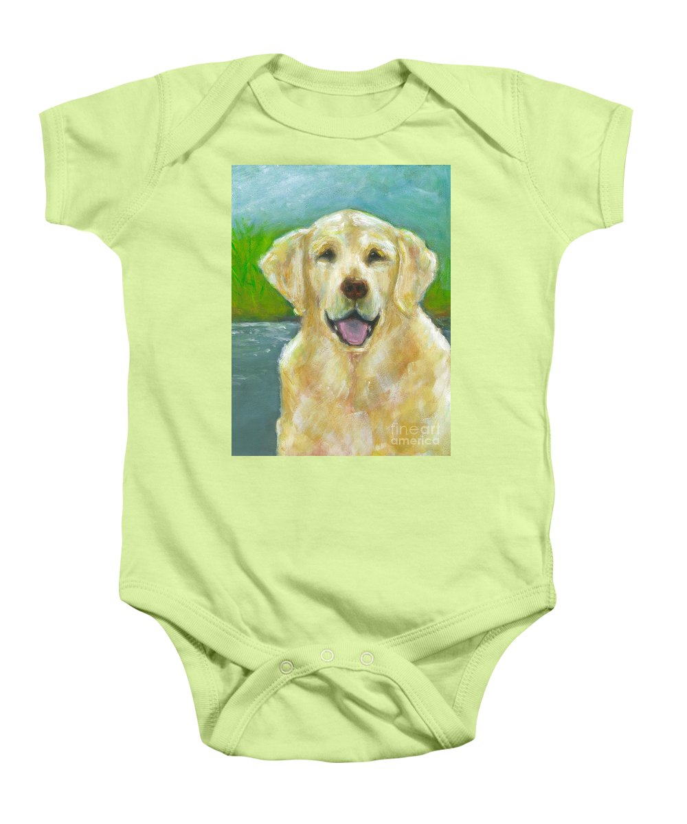 Labs Baby Onesie featuring the painting Ossie by Frances Marino