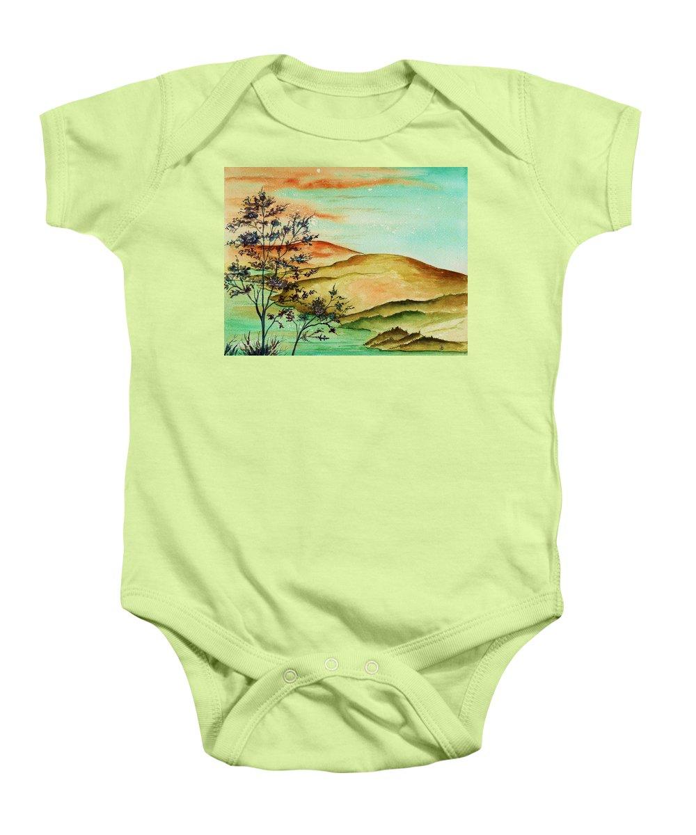 Original Baby Onesie featuring the painting Over Orange Hills by Brenda Owen