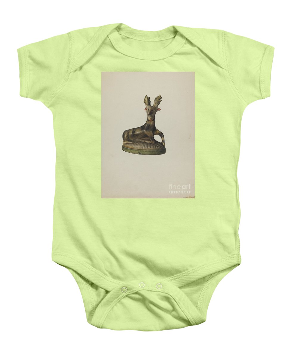 Baby Onesie featuring the drawing Pa. German Chalkware Deer by Mina Lowry