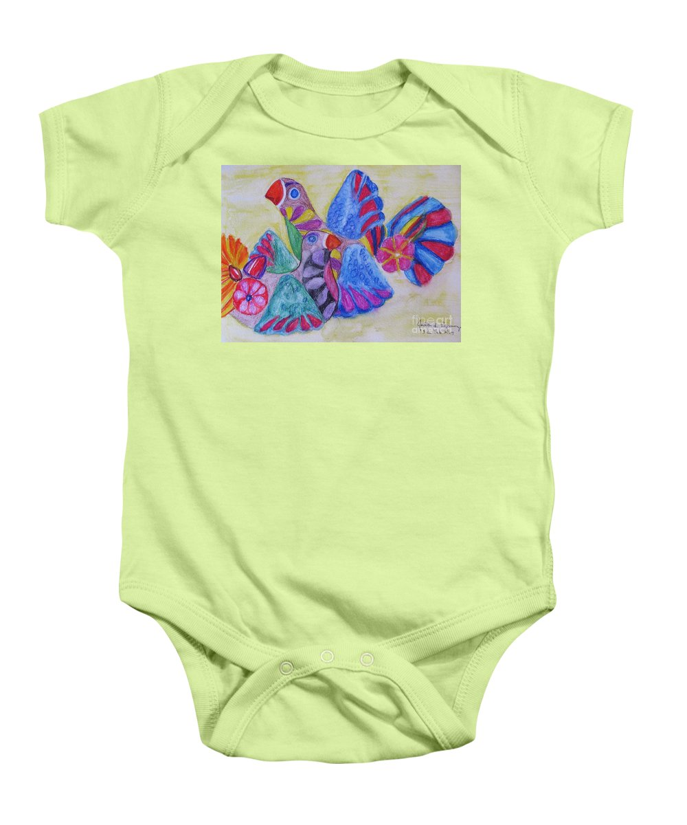 Bright Colors Baby Onesie featuring the painting Palomas - Gifted by Judith Espinoza