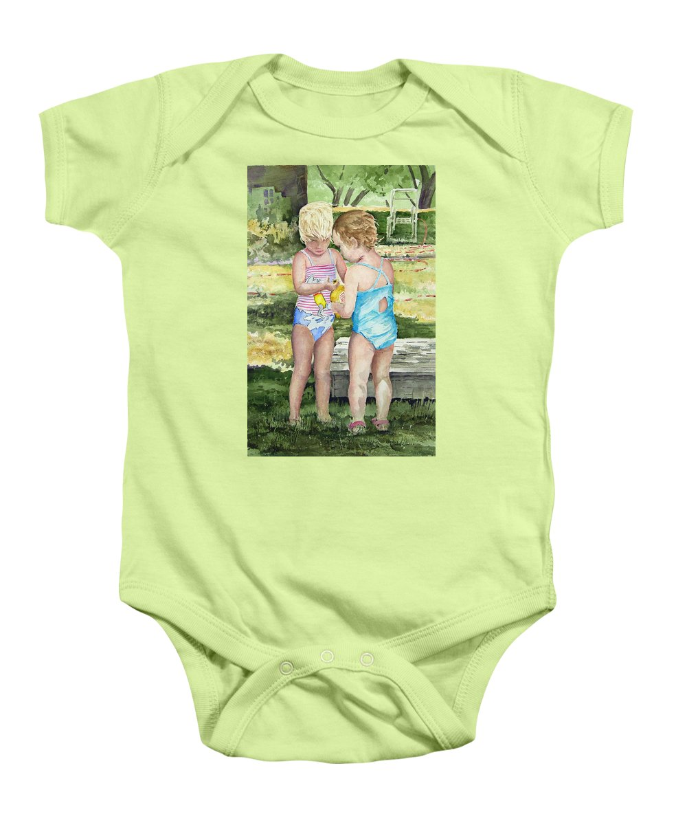 Children Baby Onesie featuring the painting Pals Share by Sam Sidders