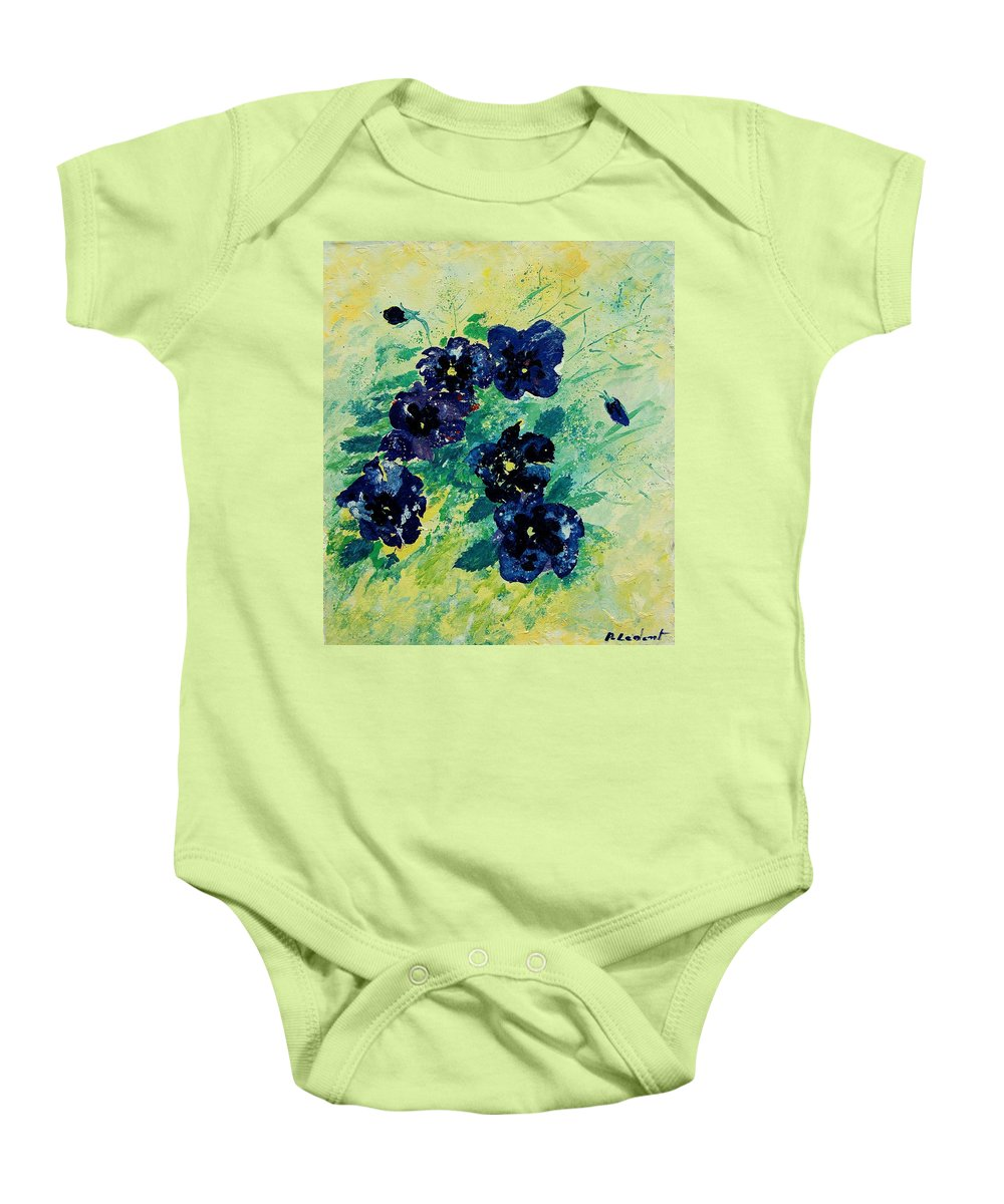 Flowers Baby Onesie featuring the painting Pansies by Pol Ledent