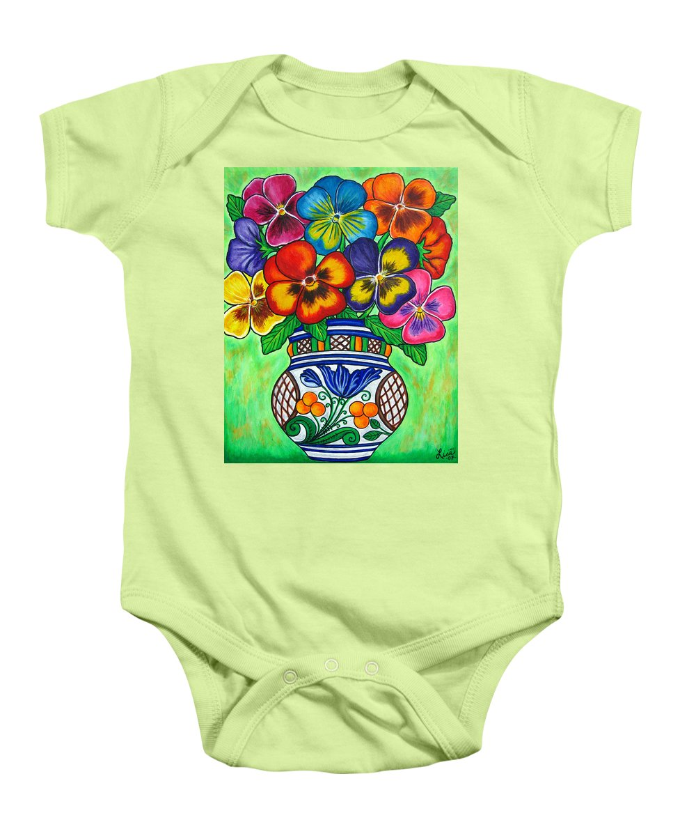 Flower Baby Onesie featuring the painting Pansy Parade by Lisa Lorenz