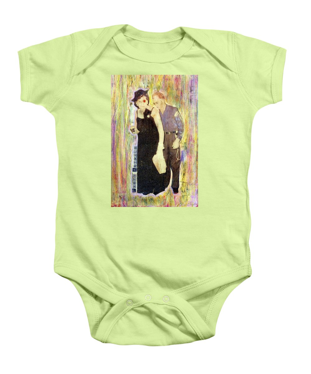 Party Animals Baby Onesie featuring the mixed media Party Animals by Desiree Paquette