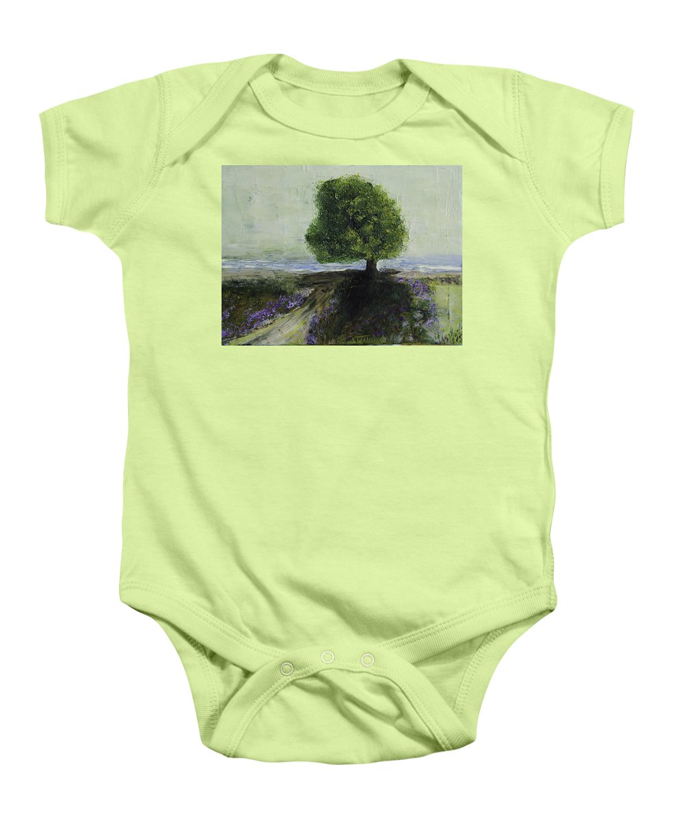 Impasto Baby Onesie featuring the painting Pathway by Mary Hahn Ward