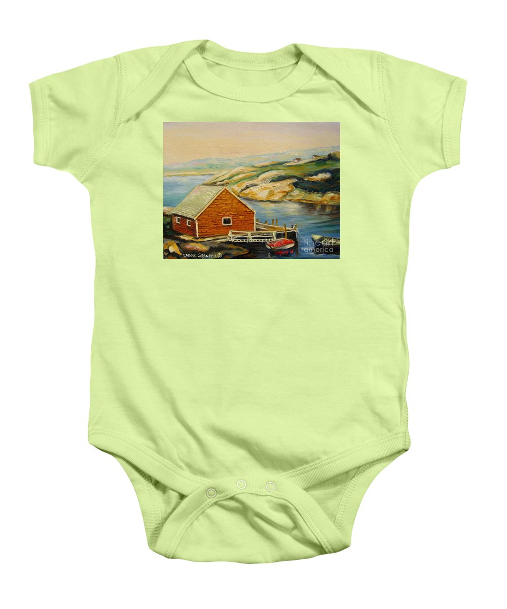 Peggy's Cove Harbor View Baby Onesie featuring the painting Peggys Cove Harbor View by Carole Spandau