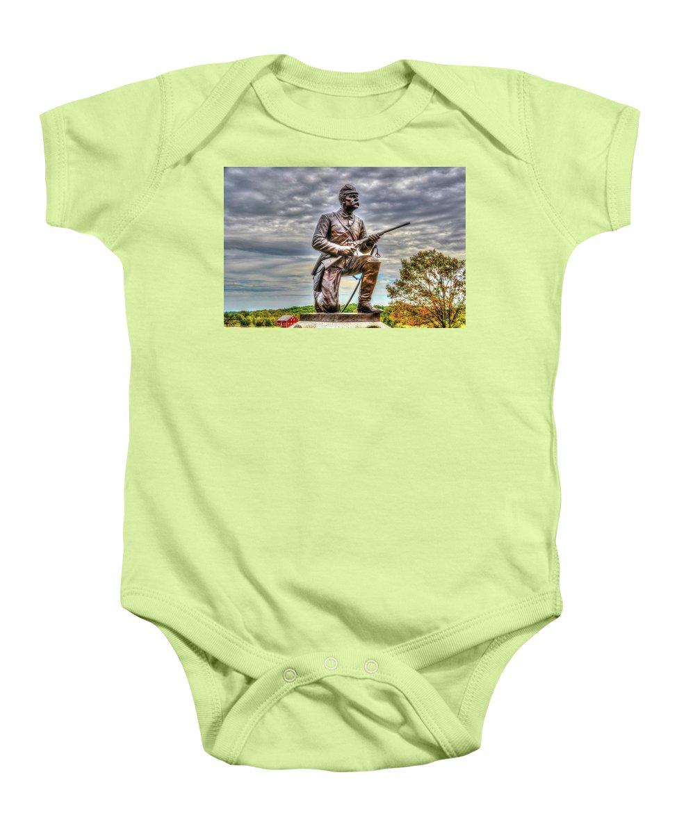 Gettysburg Baby Onesie featuring the photograph Pennsylvania Cavalry - Culps Hill by Tommy Anderson