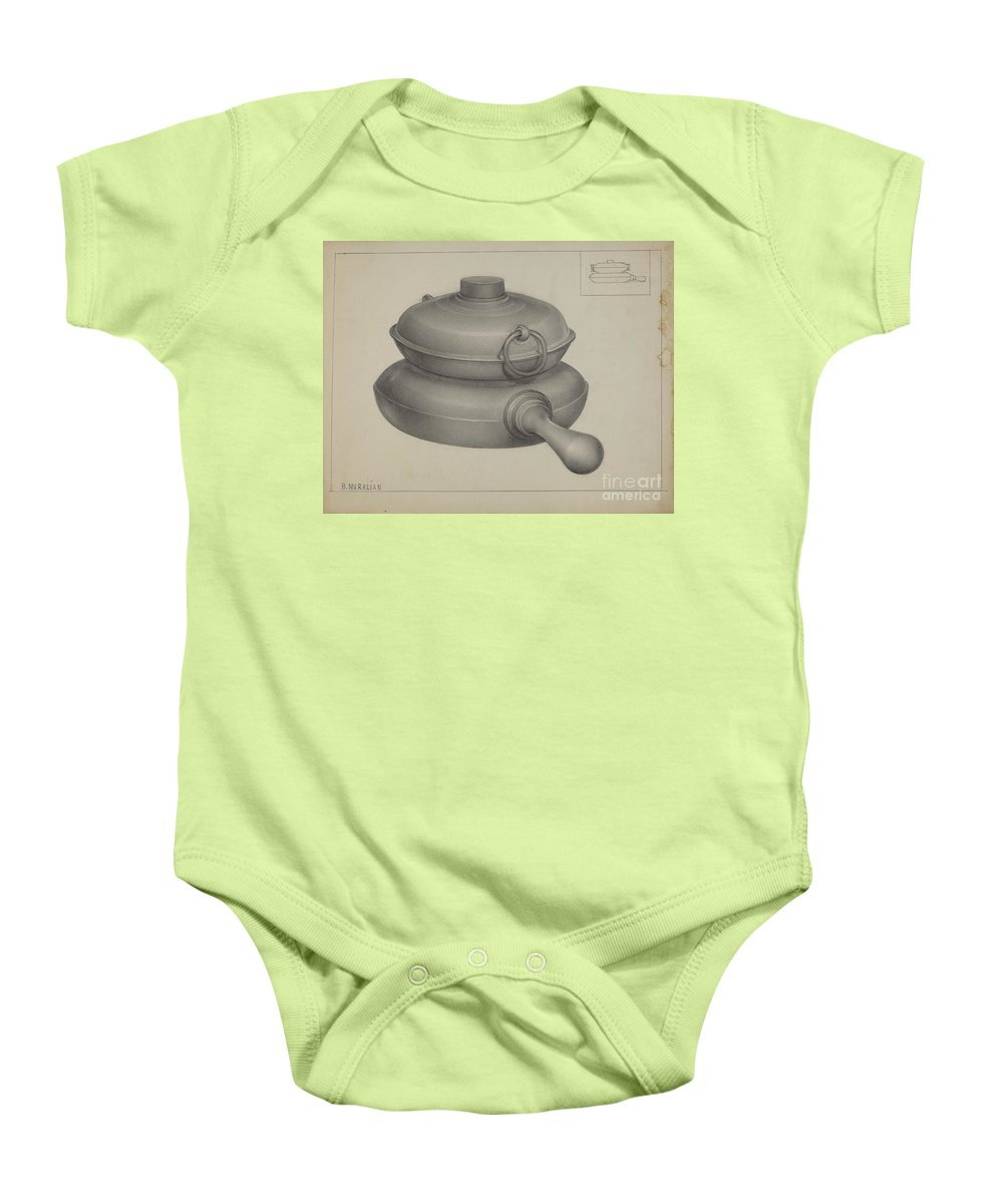 Baby Onesie featuring the drawing Pewter Pan by Arsen Maralian