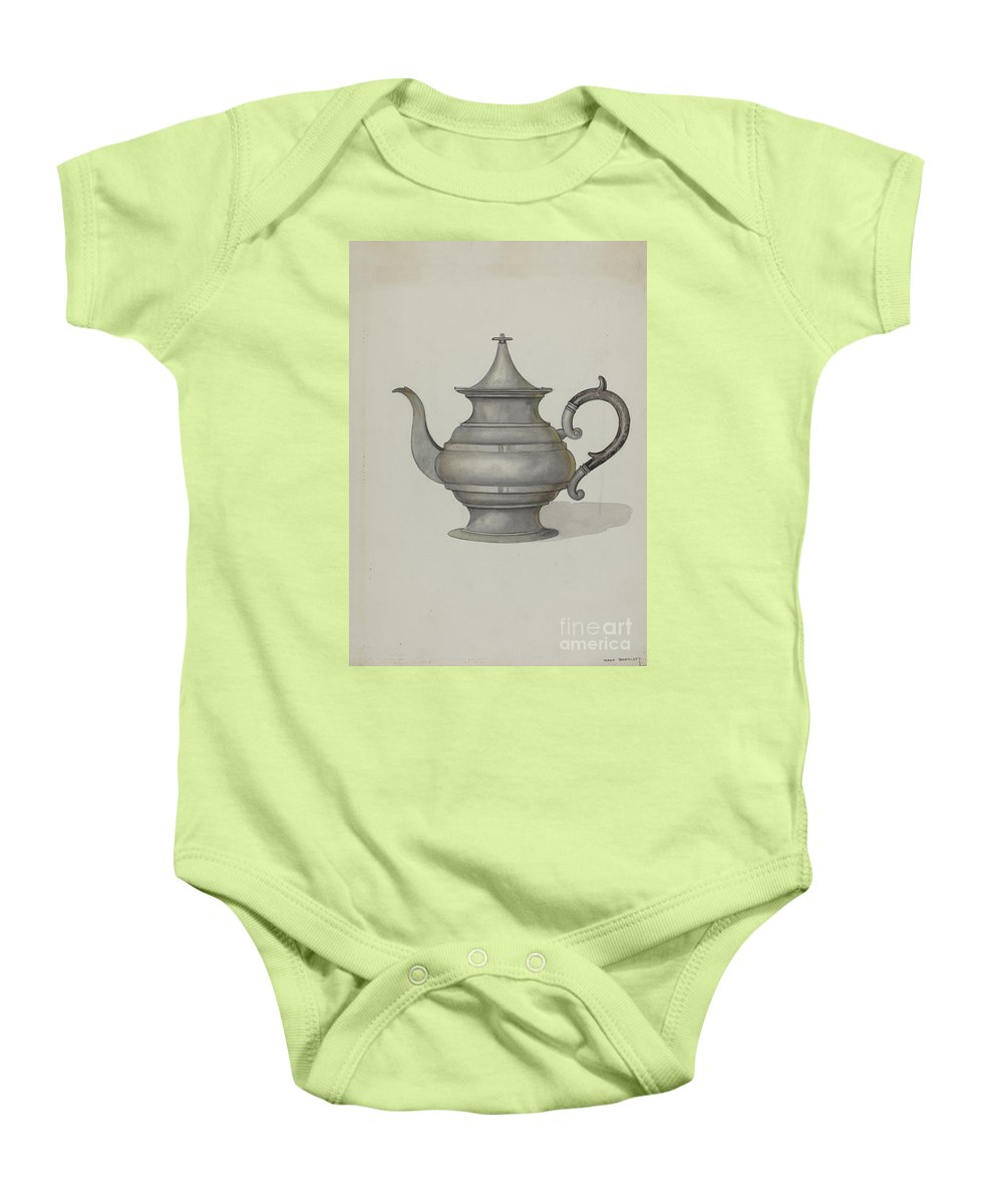 Baby Onesie featuring the drawing Pewter Teapot by Dana Bartlett