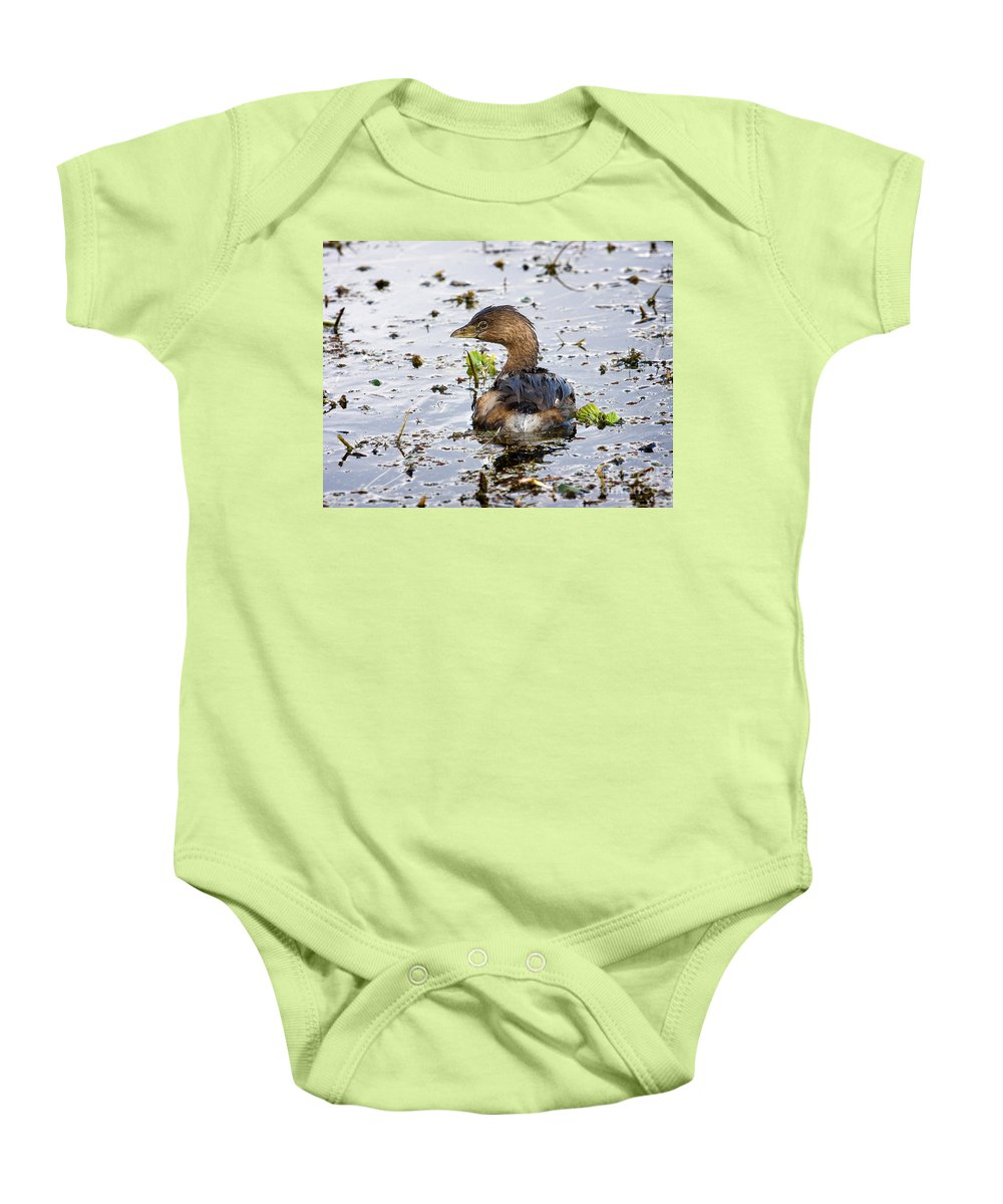 Bird Baby Onesie featuring the photograph Pied Billed Grebe by Louise Heusinkveld