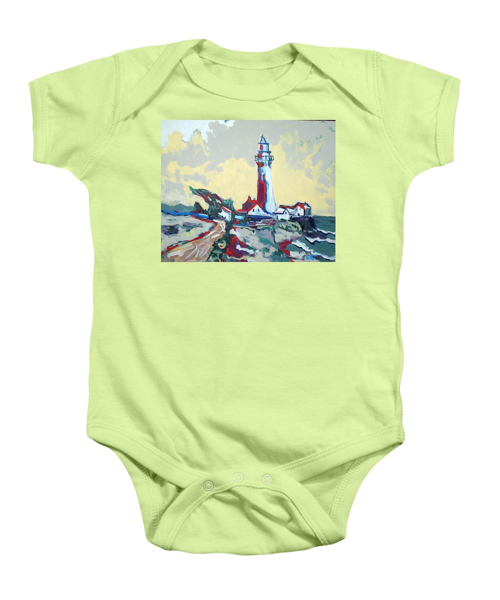 Ligthouse Baby Onesie featuring the painting Pigeon Point by Kurt Hausmann