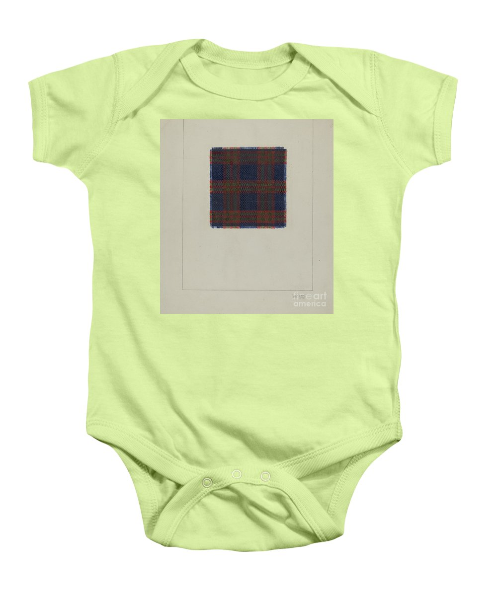 Baby Onesie featuring the drawing Plaid Homespun Cloth by Frank J. Mace