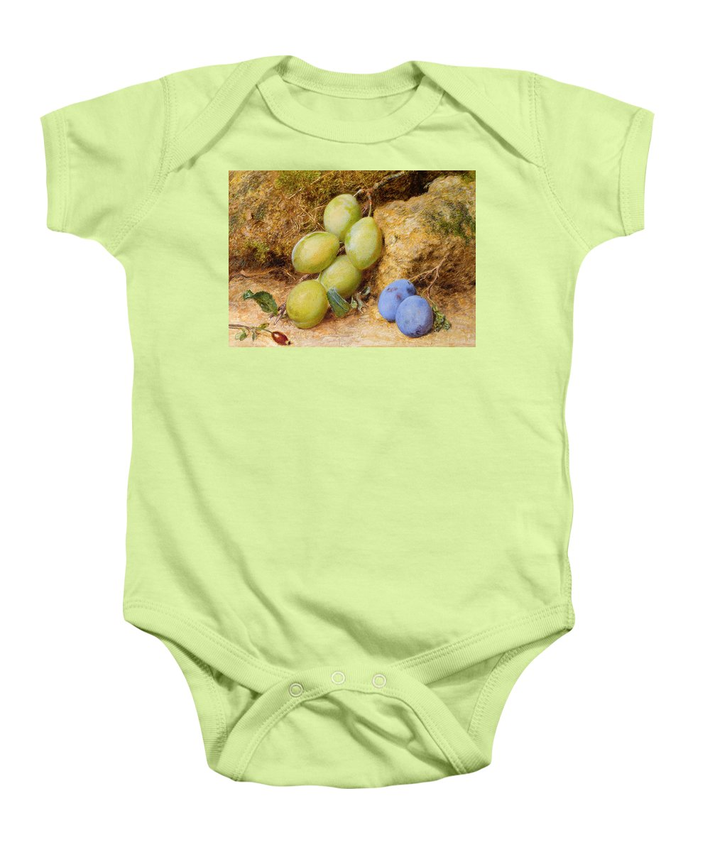 William Henry Hunt Ows (1790 – 1864) Plums And A Rose Hip On A Mossy Bank Baby Onesie featuring the painting Plums And A Rose Hip On A Mossy Bank by William Henry