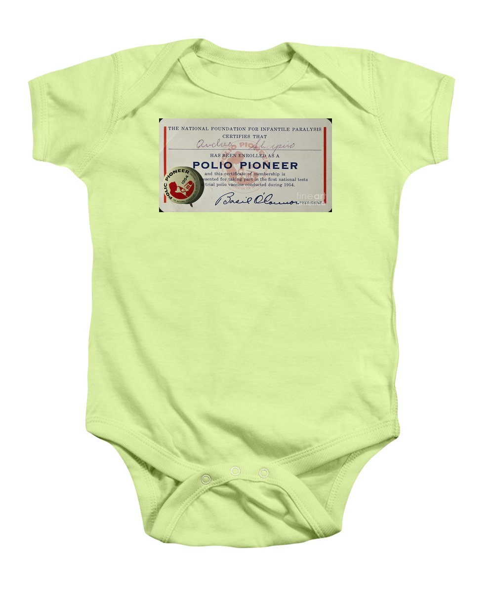 1954 Baby Onesie featuring the photograph Polio Certificate, 1954 by Granger