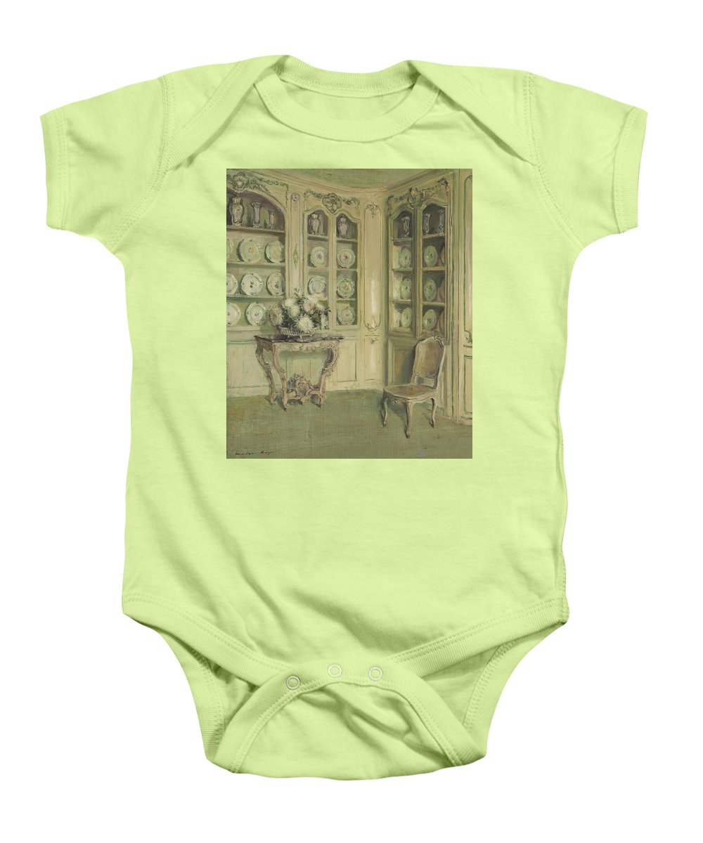 Walter Gay (1856-1937) Porcelains Baby Onesie featuring the painting Porcelains by Walter Gay