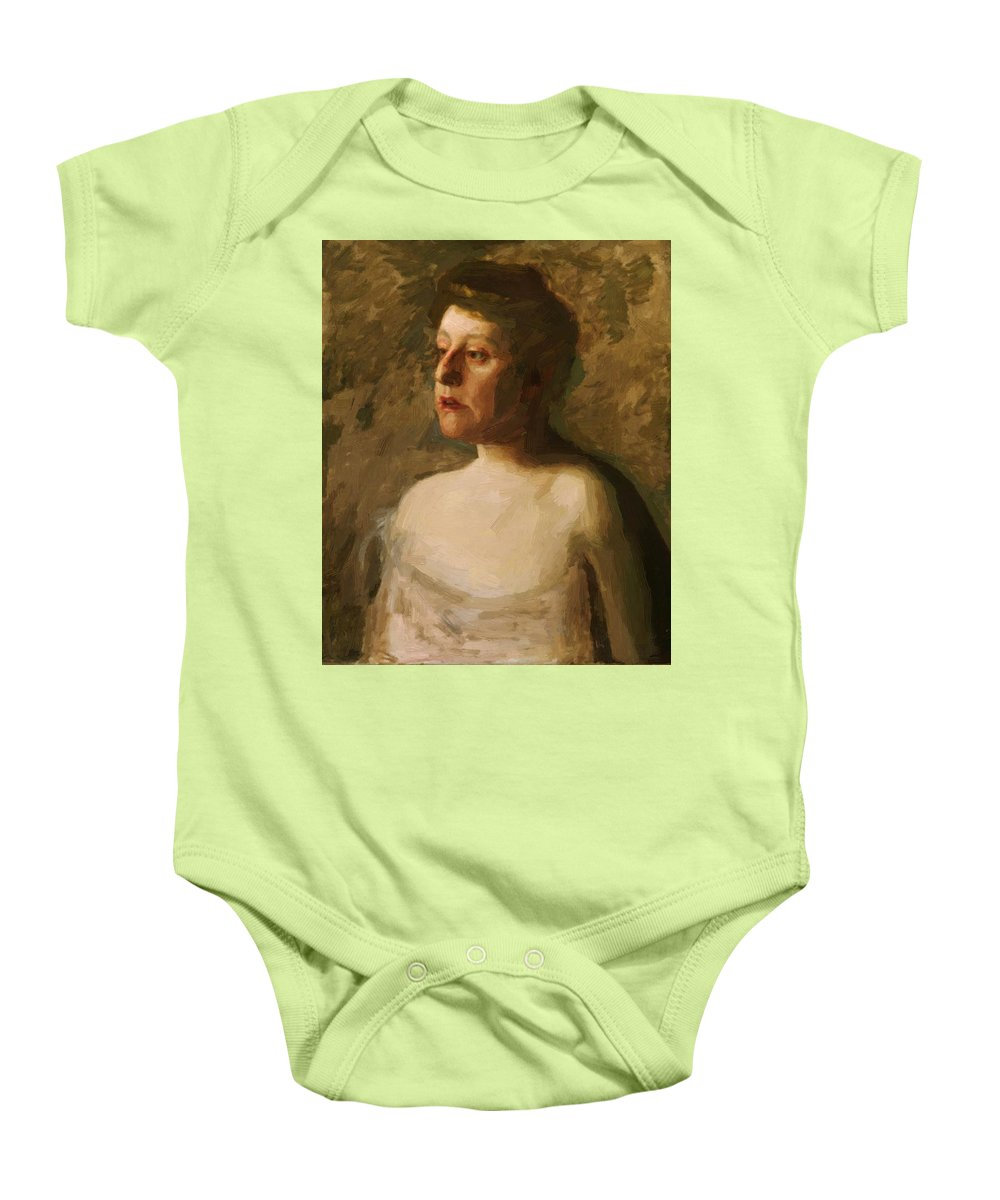 Portrait Baby Onesie featuring the painting Portrait Of Mrs W H Bowden 1906 by Eakins Thomas