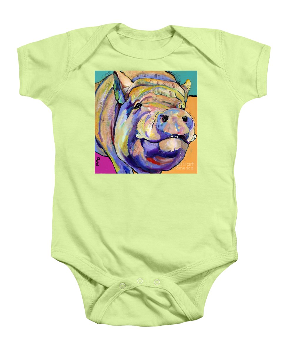 Pig Prints Baby Onesie featuring the painting Potbelly by Pat Saunders-White