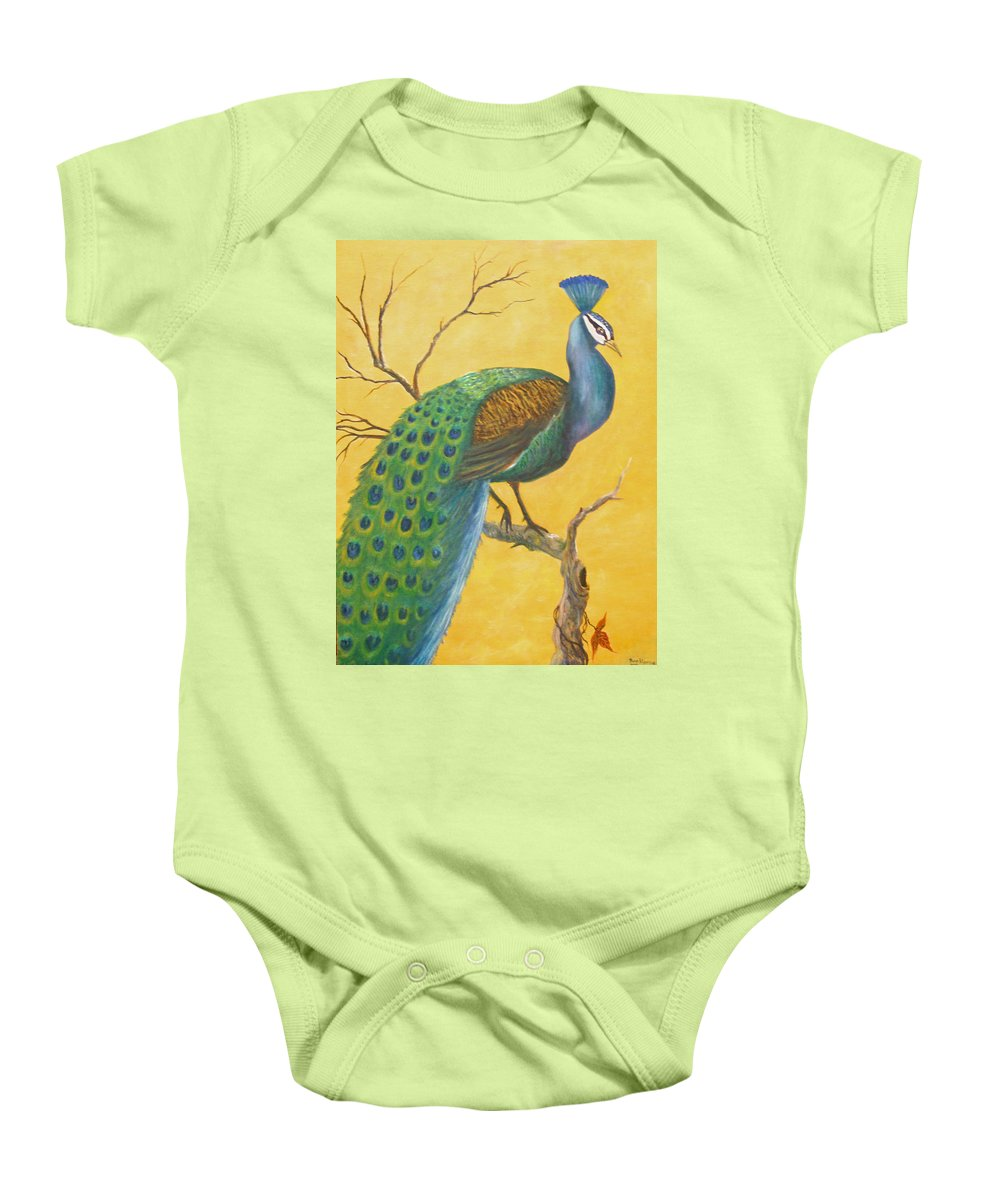 Peacock; Birds; Fall Leaves Baby Onesie featuring the painting Proud As A Peacock by Ben Kiger