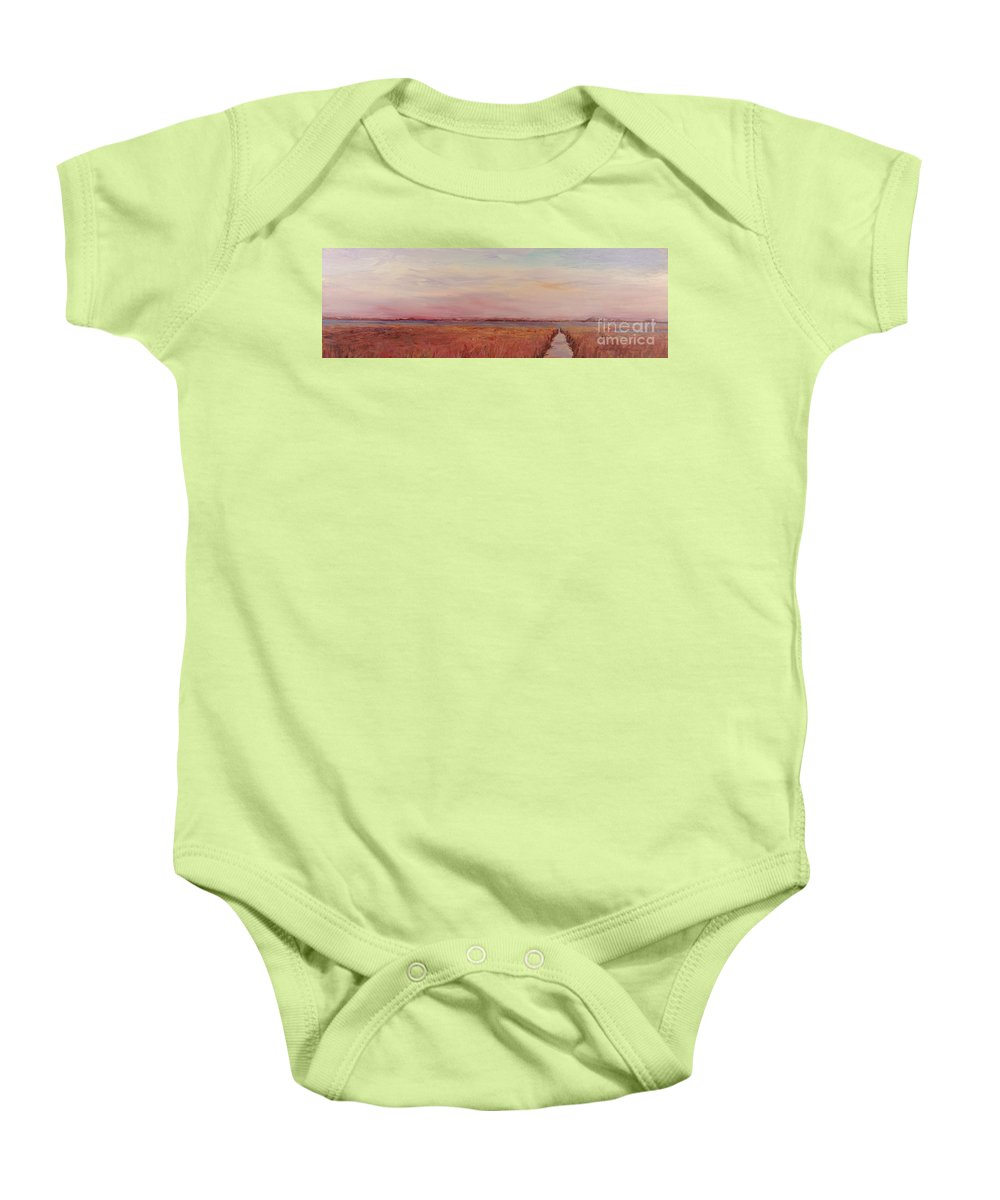 Landscape Baby Onesie featuring the painting Provence Camargue by Nadine Rippelmeyer