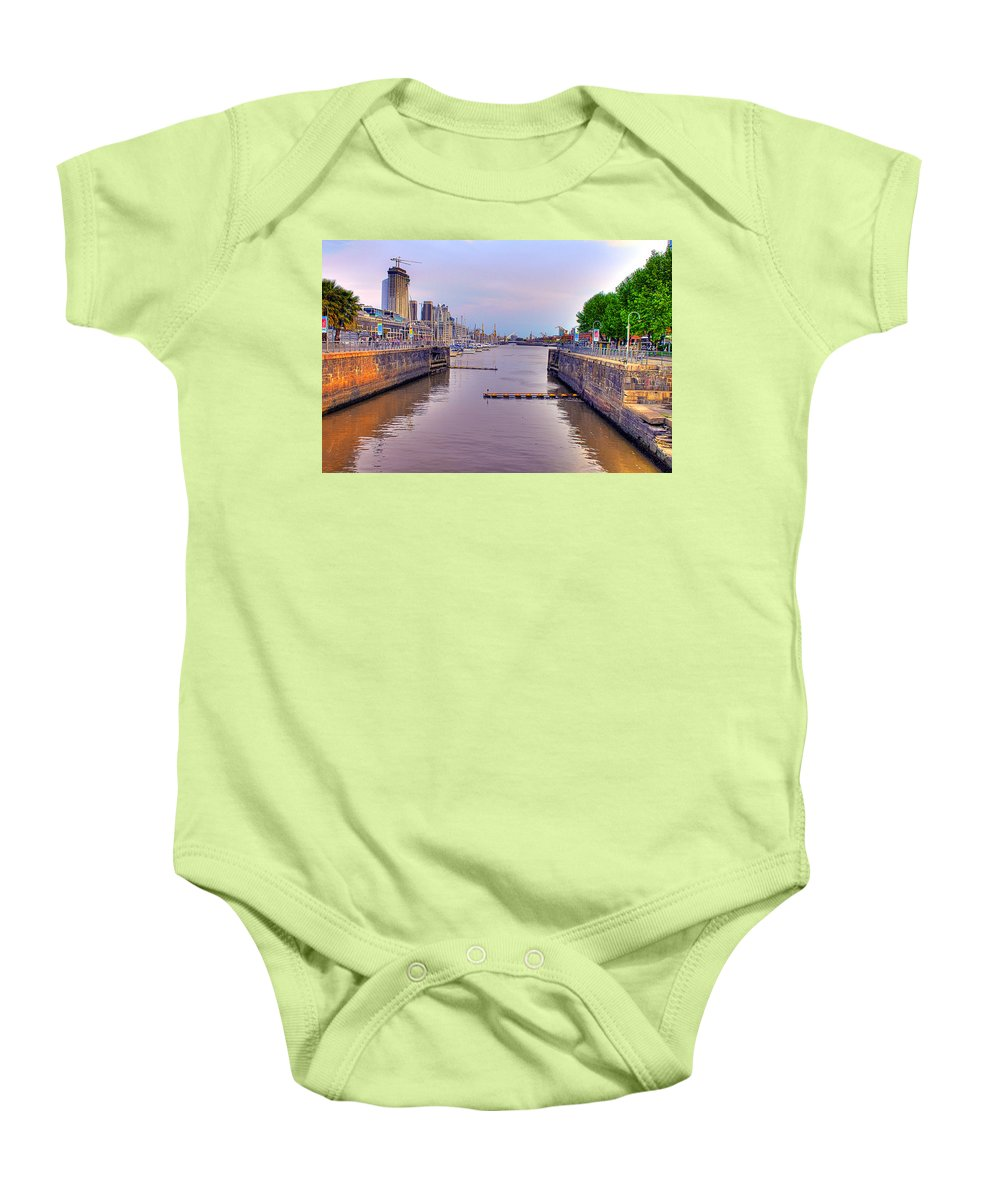 Buenos Baby Onesie featuring the photograph Puerto Madero Canal by Francisco Colon