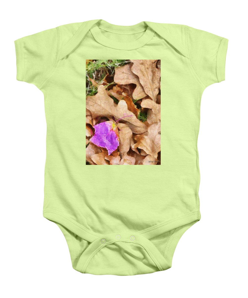 Purple Baby Onesie featuring the painting Punk Leaf by Jeffrey Kolker