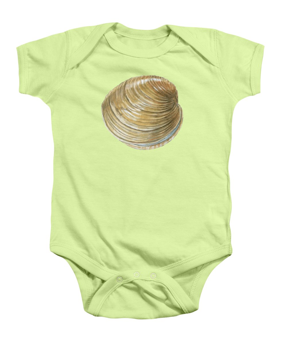Quahog Baby Onesie featuring the painting Quahog Shell by Dominic White