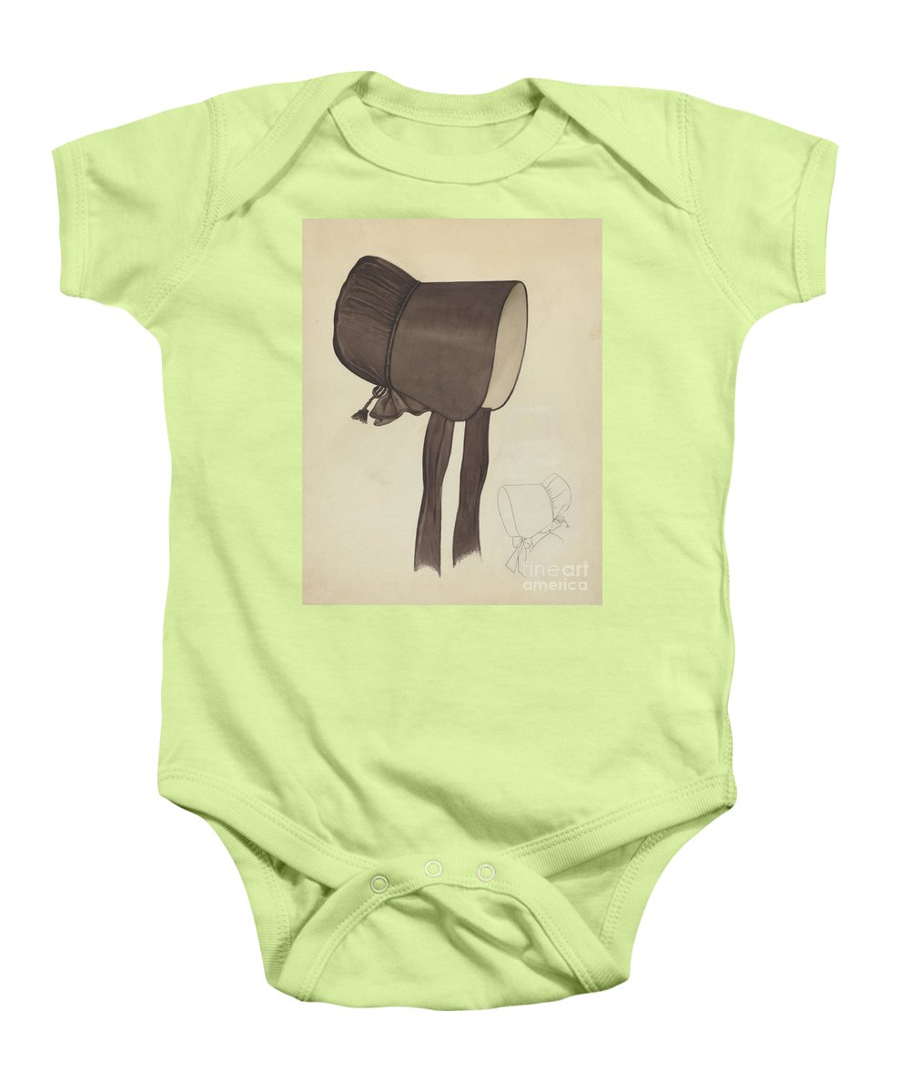 Baby Onesie featuring the drawing Quaker Bonnet by American 20th Century