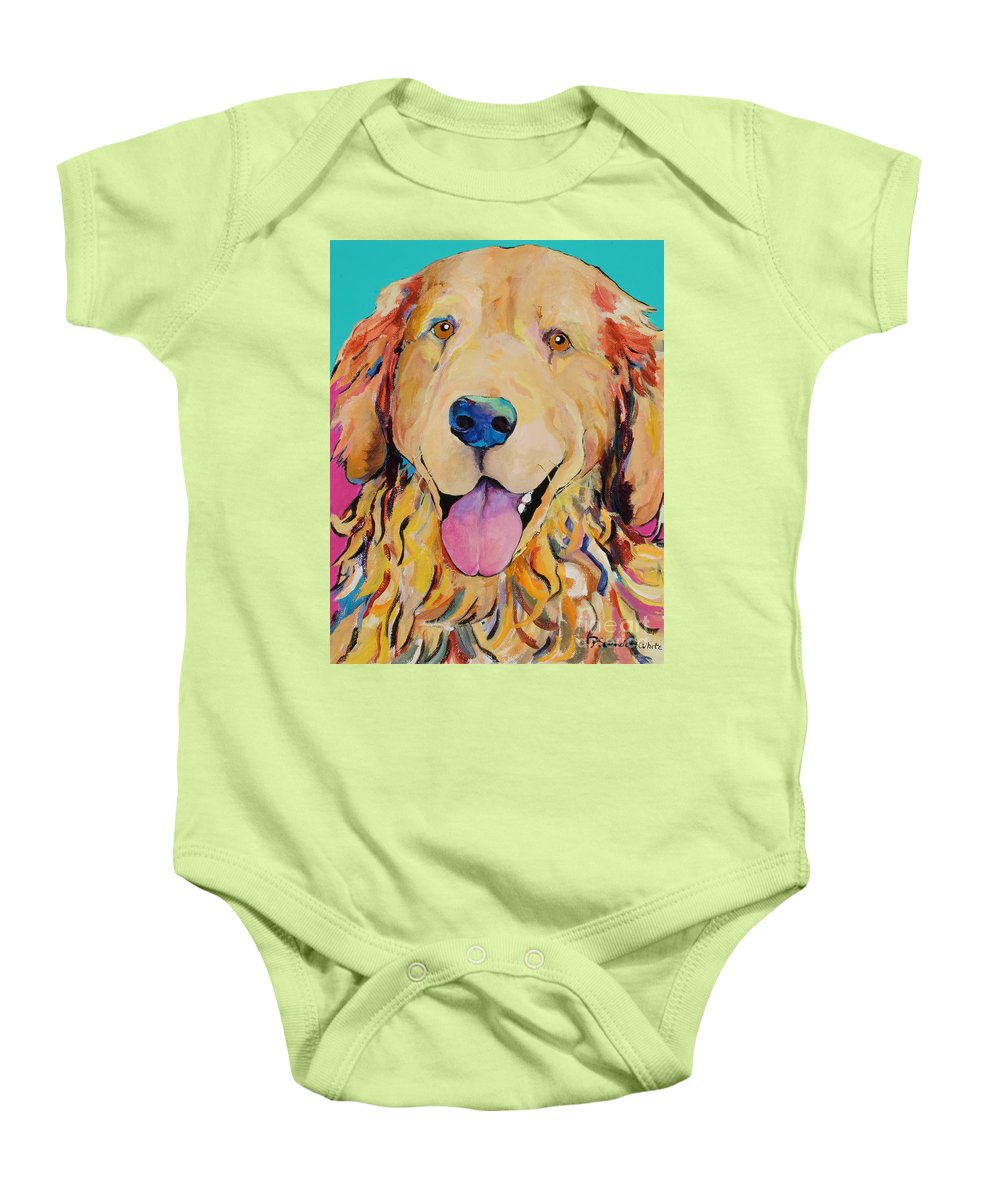 Golden Retriever Baby Onesie featuring the painting Radley by Pat Saunders-White