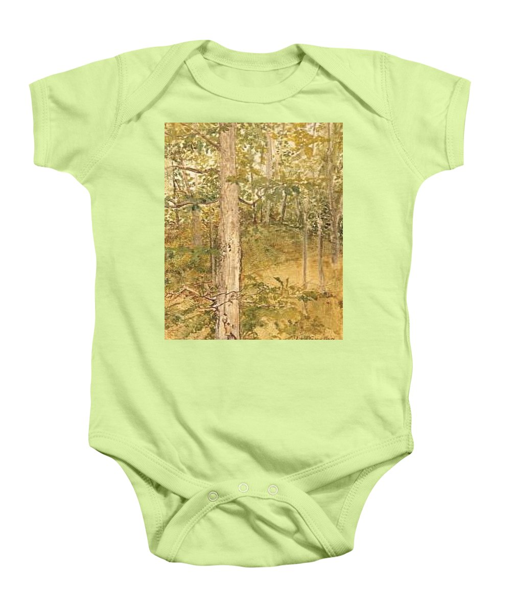 Trees Baby Onesie featuring the painting Raystown Lake by Leah Tomaino