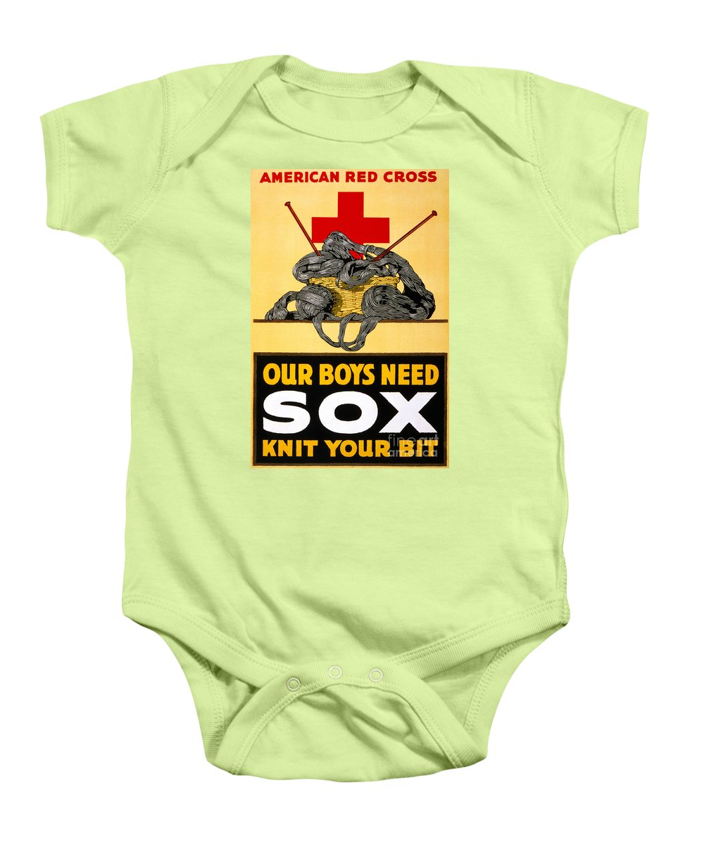 1917 Baby Onesie featuring the photograph Red Cross Poster, C1917 by Granger