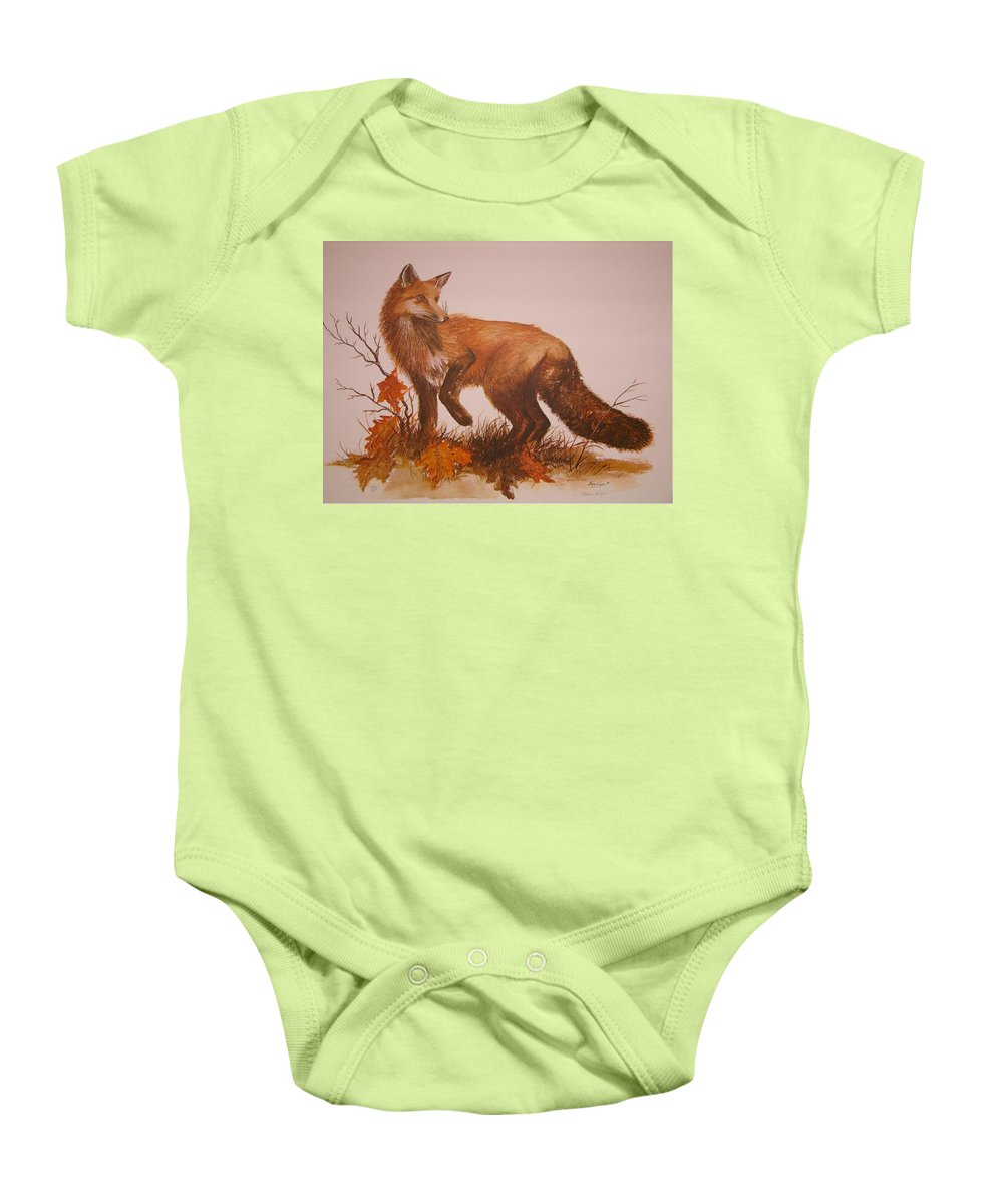 Nature Baby Onesie featuring the painting Red Fox by Ben Kiger