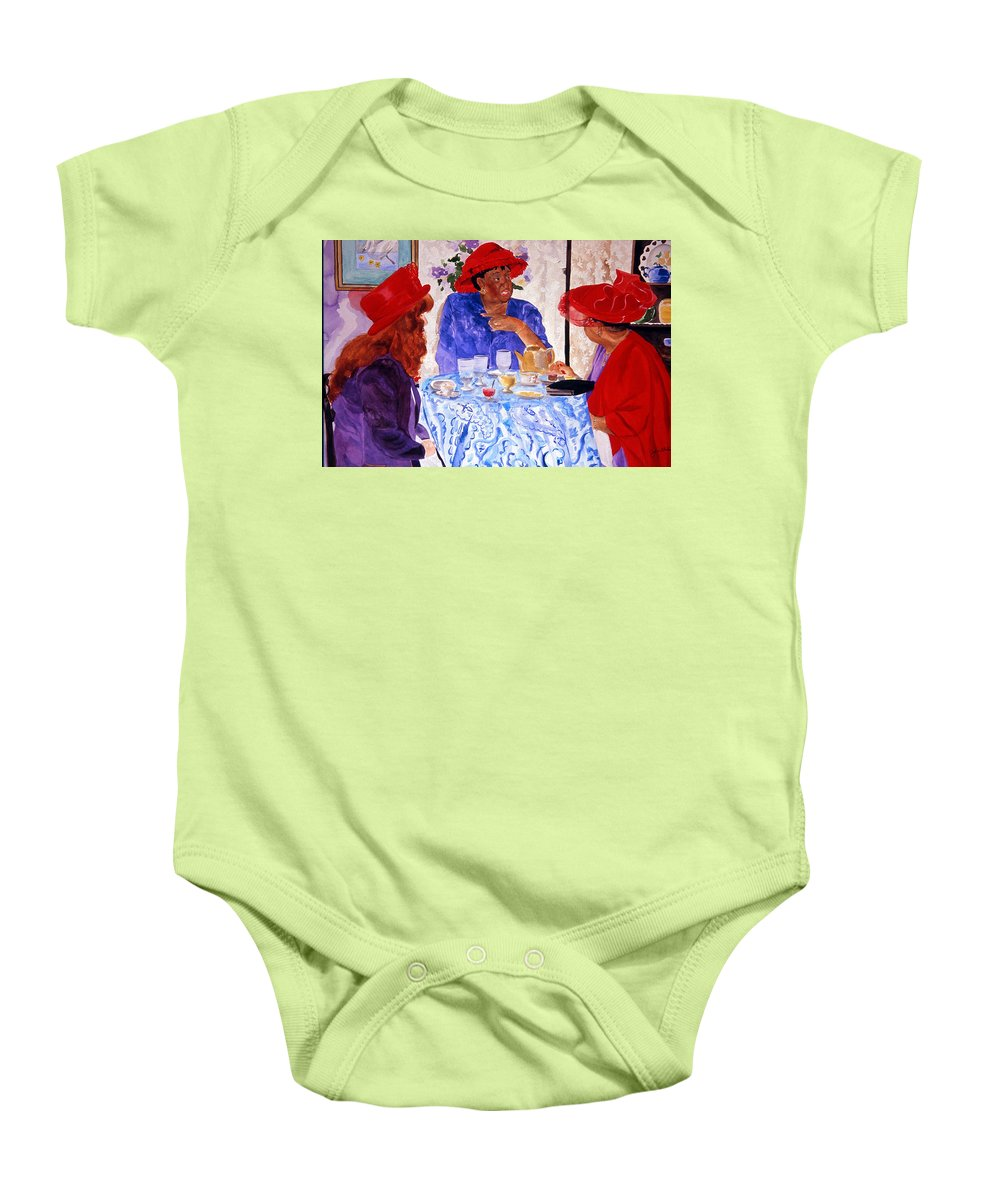 Red Hat Baby Onesie featuring the painting Red Hatters Chatter by Jean Blackmer