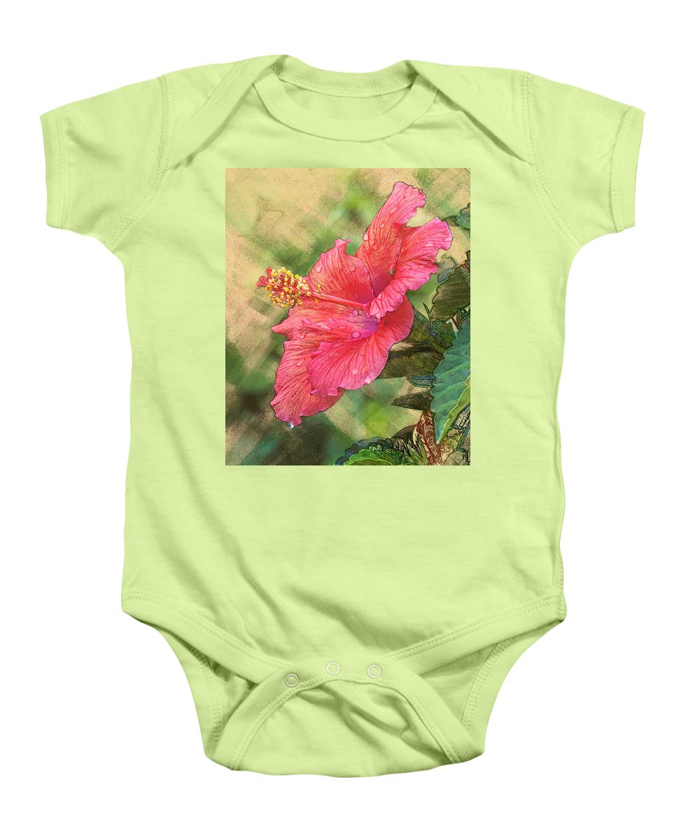 5dii Baby Onesie featuring the digital art Red Hibiscus by Mark Mille