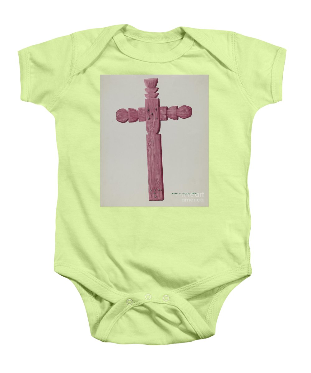 Baby Onesie featuring the drawing Red Wooden Cross Used As Headstone by Majel G. Claflin