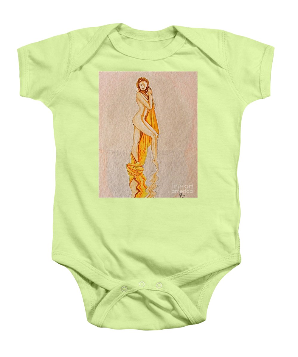 Nude Baby Onesie featuring the painting Reflection by Herschel Fall