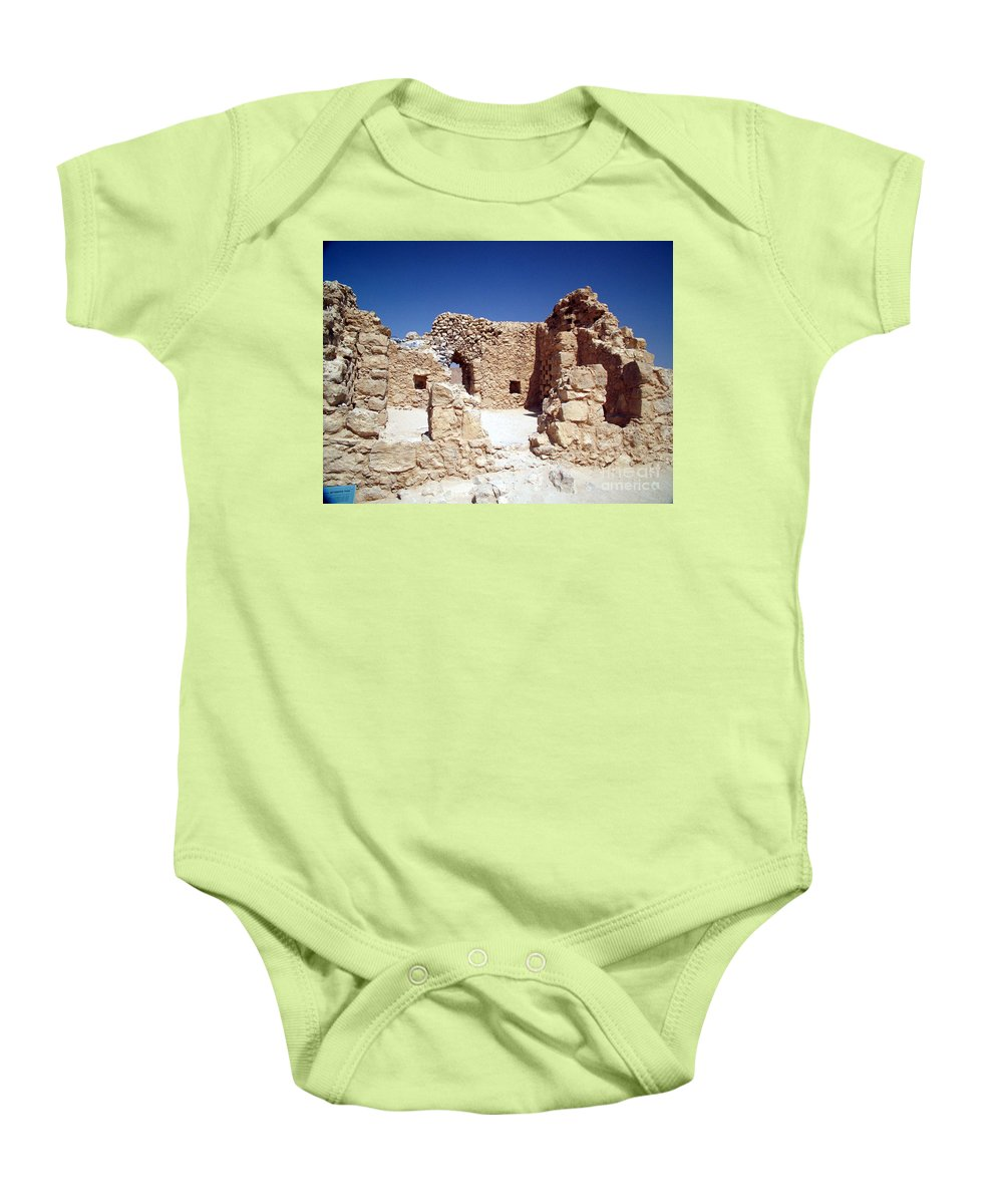 Massada Baby Onesie featuring the photograph Remains Of The Massada Synagogue by Avi Horovitz