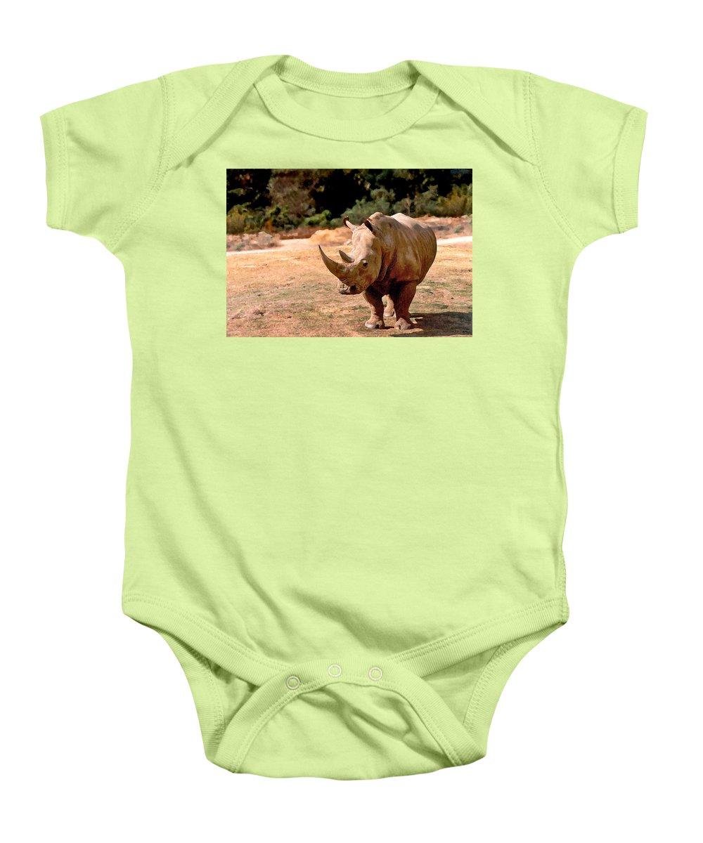 Animal Baby Onesie featuring the painting Rhino by Steve Karol