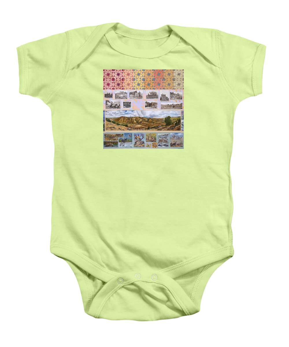 Western Baby Onesie featuring the painting River Mural Autumn Panel Top Half by Dawn Senior-Trask