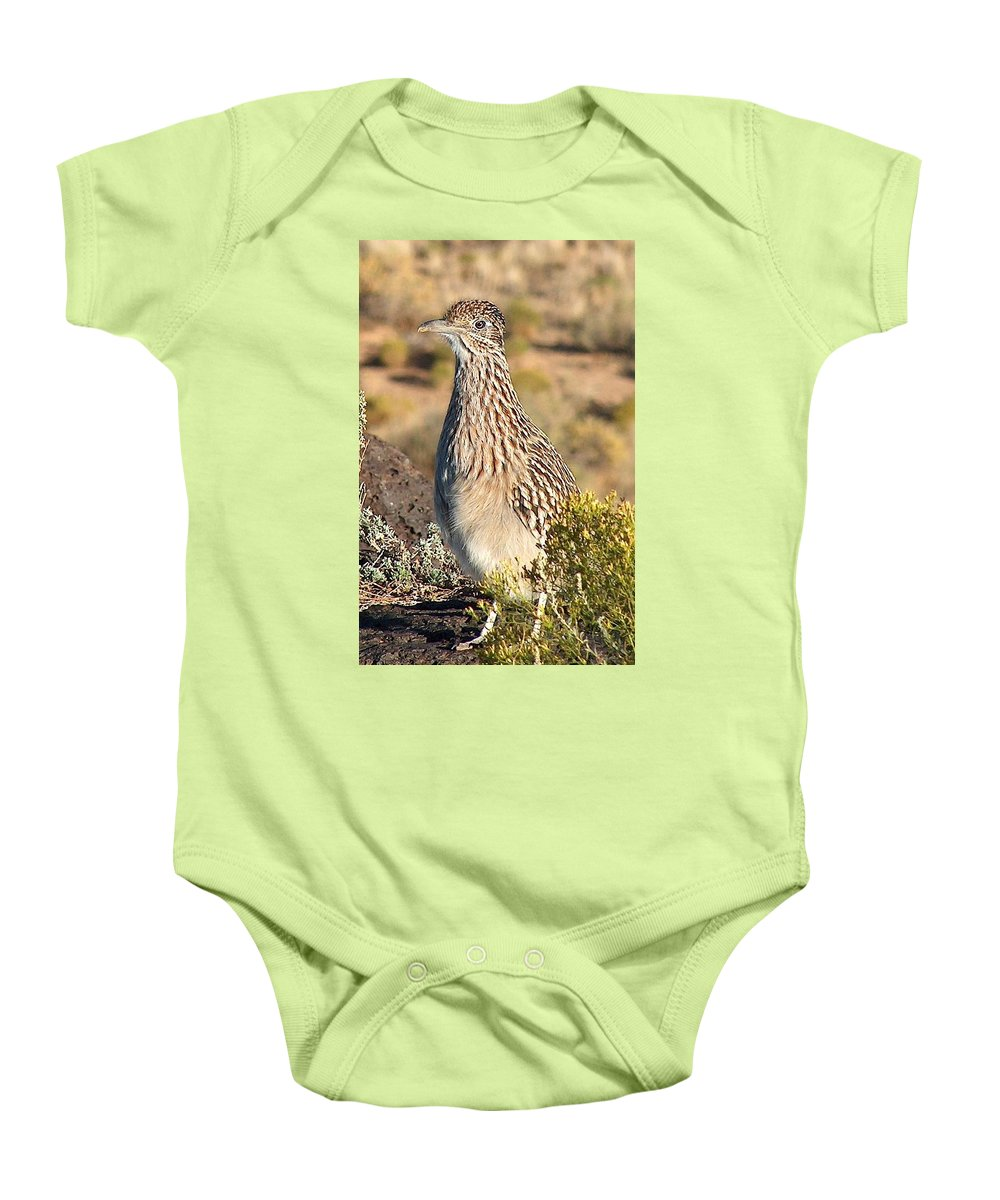 Roadrunner Baby Onesie featuring the photograph Roadrunnner At The Petroglyphs by Tim McCarthy