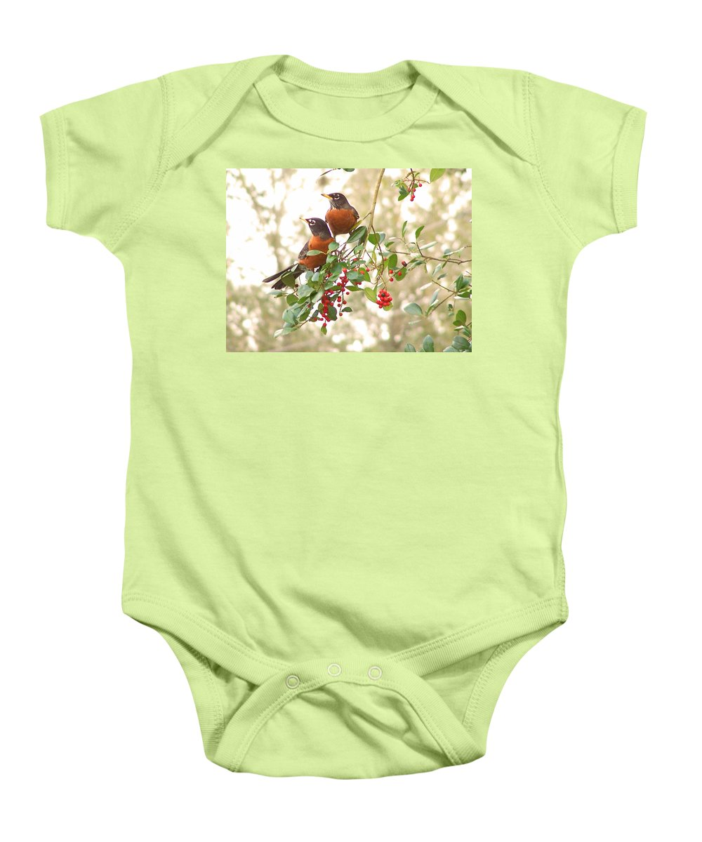 Nature Baby Onesie featuring the photograph Robins In Holly by Peg Urban