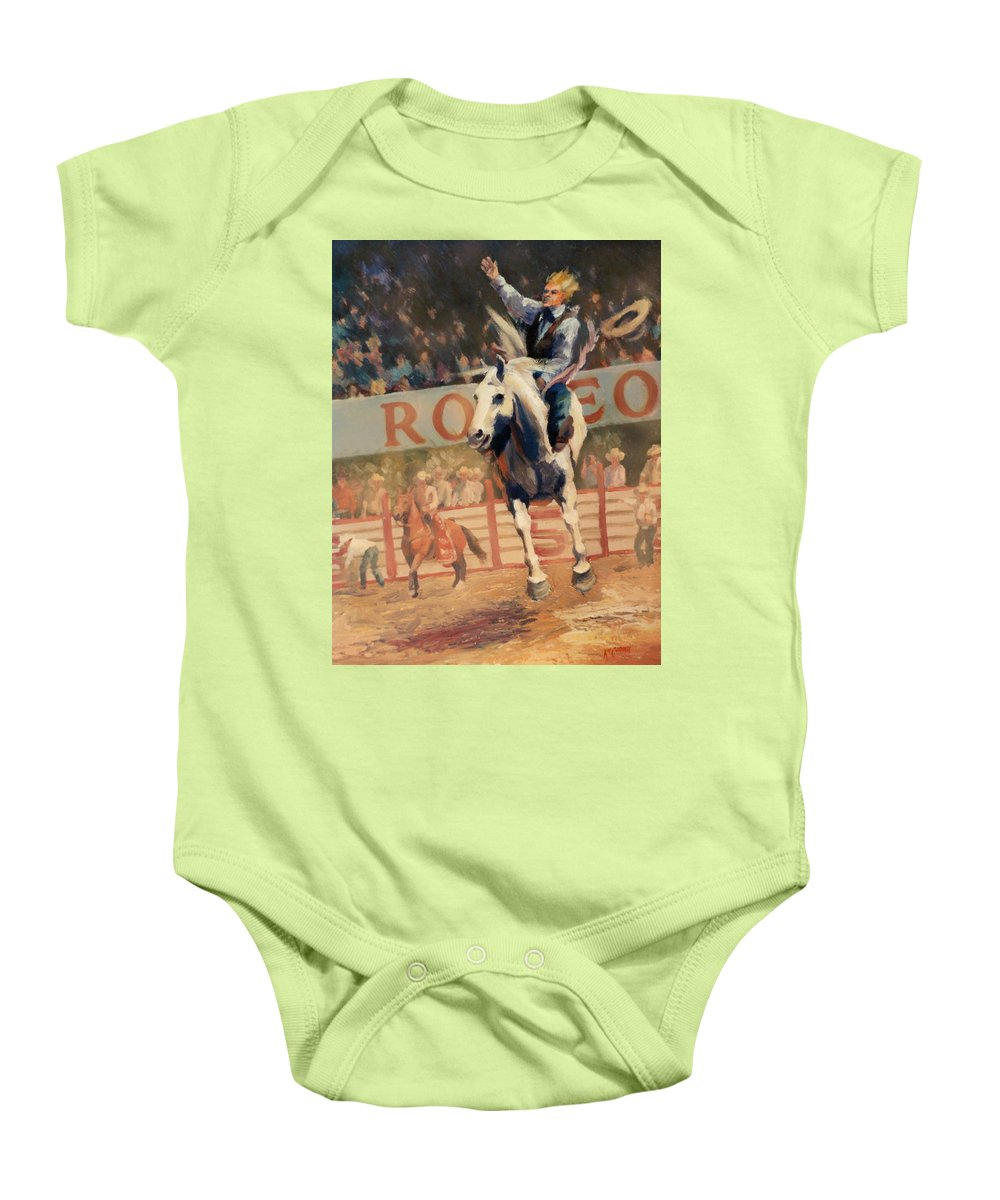 Cowboy Baby Onesie featuring the painting Rodeo  Bareback Bronc Painting by Kim Corpany