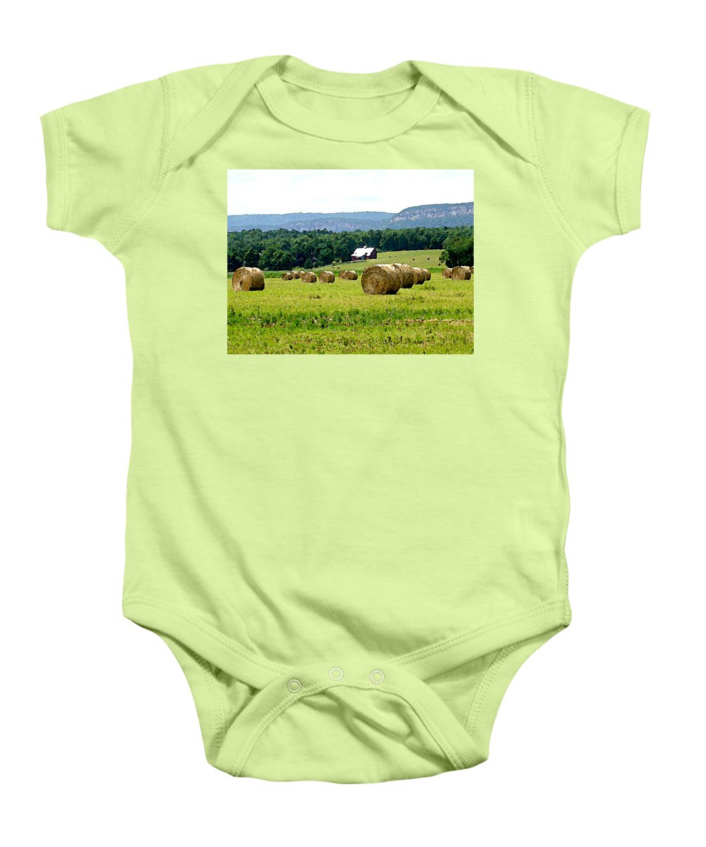 Landscape Baby Onesie featuring the painting Rolled Bales by Paul Sachtleben