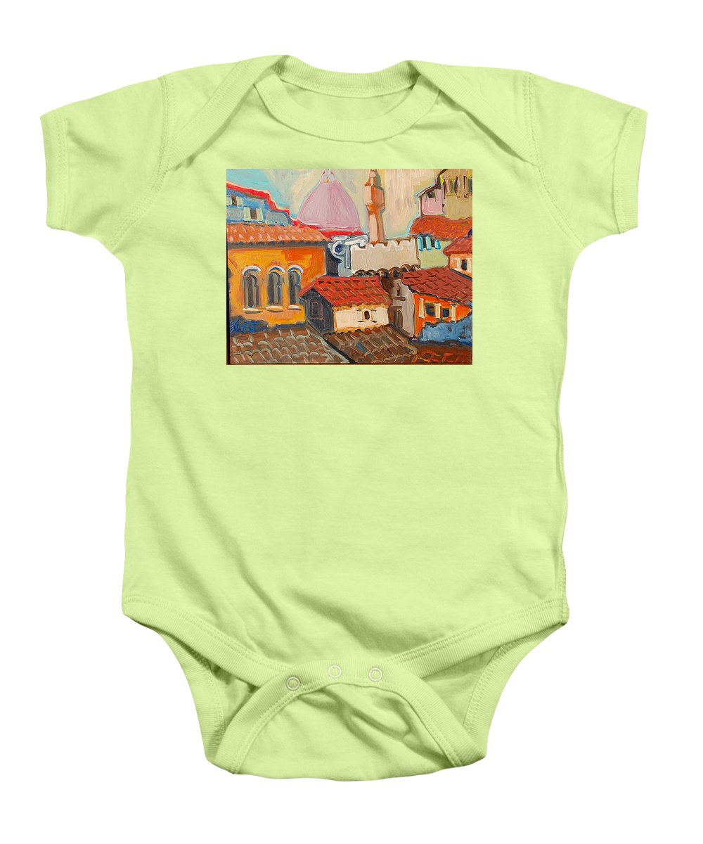 Florence Baby Onesie featuring the painting Rooftops by Kurt Hausmann