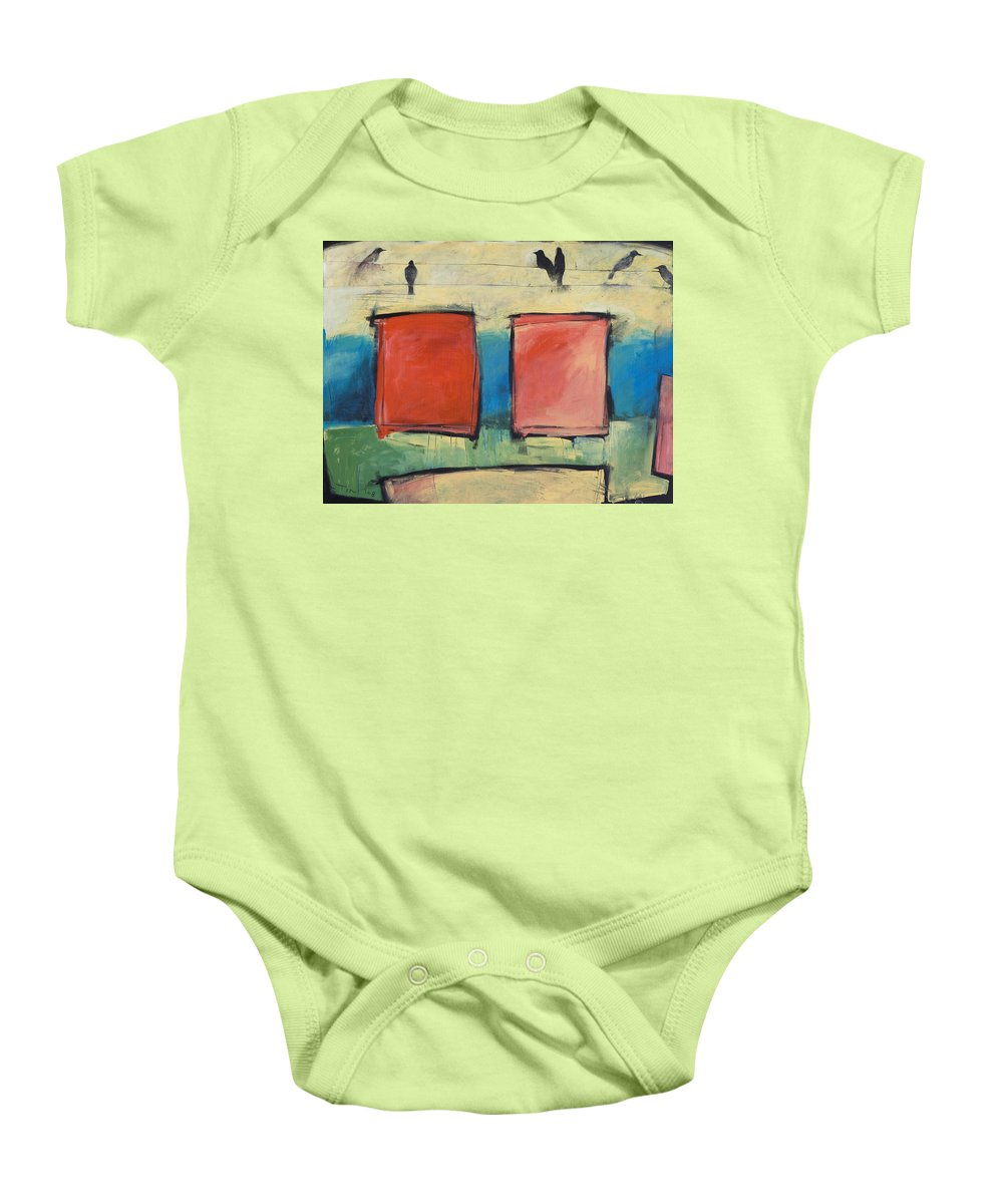 Rothko Baby Onesie featuring the painting Rothko Meets Hitchcock by Tim Nyberg