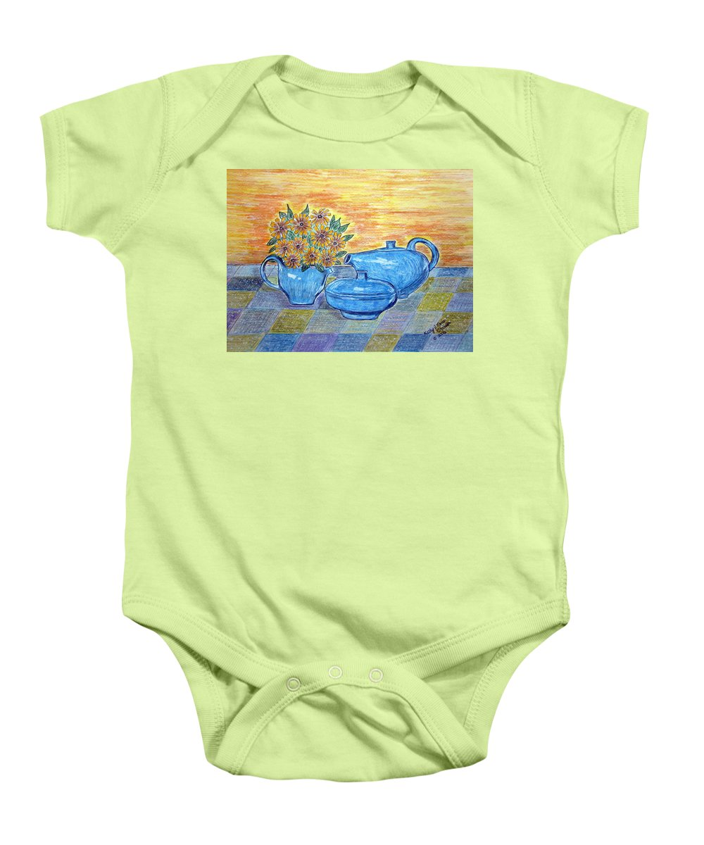 Russell Wright China Baby Onesie featuring the painting Russel Wright China by Kathy Marrs Chandler